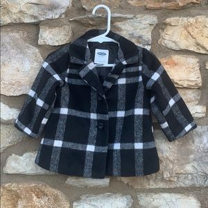 Old Navy Girls Wool Peacoat, Black & White plaid